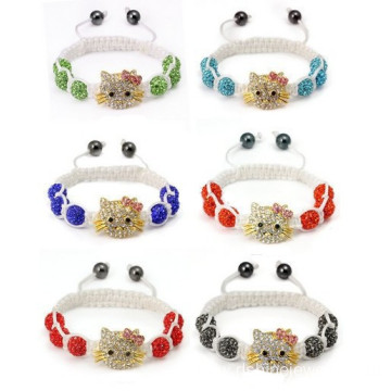 Cute Hello Kitty Charm Shamballa Beads Bracelet For Children