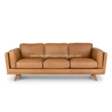 Mid-Century Modern Timber Charme Tan Leather Sofa