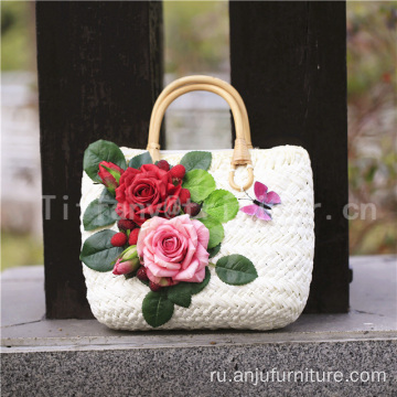 Beautiful colourful flowers straw beach bag