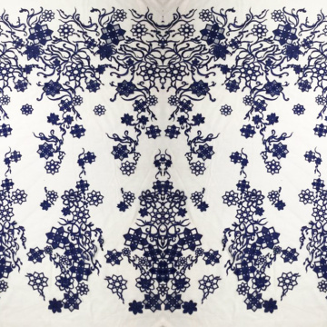 Navy Square Flower Lace Embroidery Fabric