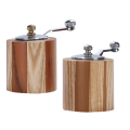 Short wooden salt and pepper grinders