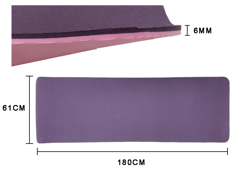 Non Toxic Yoga Mat Detailed Measurement