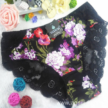 OEM new style wholesale sexy lace women black panty little printed flowers bamboo fiber underwear 6890