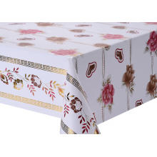 Transfer Printing Tablecloth with Silver/Gold scroll
