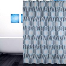 Shower Curtain PEVA Grey Hexagon