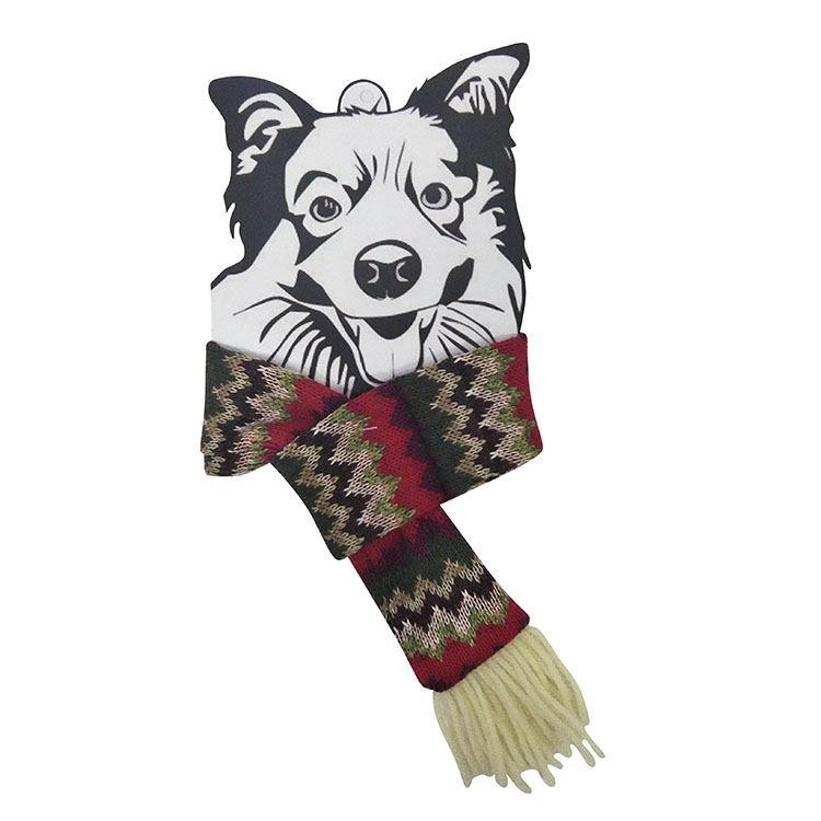 Christmas dog knit scarf 2