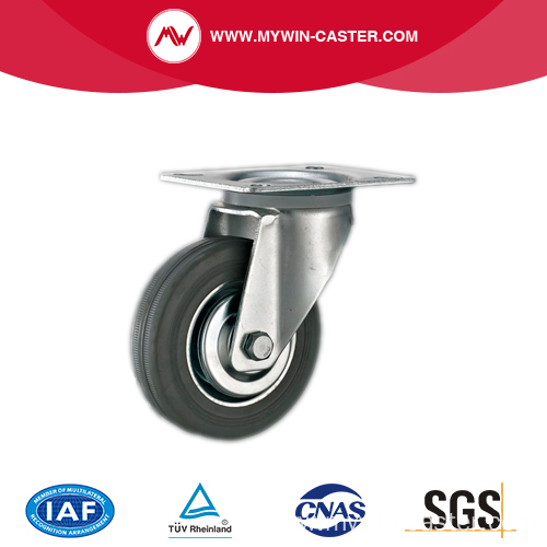 Rigid Gray Rubber Metal Core Industrial Castor Wheel
