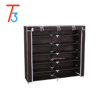 7 Tiers Shoe Rack Closet with Fabric Cover Portable Shoe Storage Organizer Cabinet Dark Brown