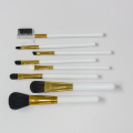 White PU bag with 8 make up brushes