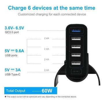 60W 3.0 6-port USB PD Type-C fast charger
