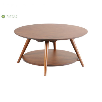 Madilim na Walnut Round Coffee Table Double Layer