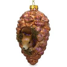 Pinecone Shaped Customized Geblasene bemalte Weihnachtsglas-Ornamente