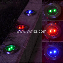 Stainless steel circular LED solar lawn lamp