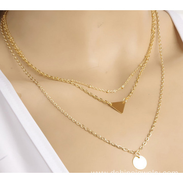 Gold Tiny Plate Charm Multi Layers Chain Collar Necklace