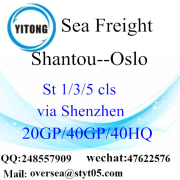 Shantou Port Sea Freight Shipping to Oslo