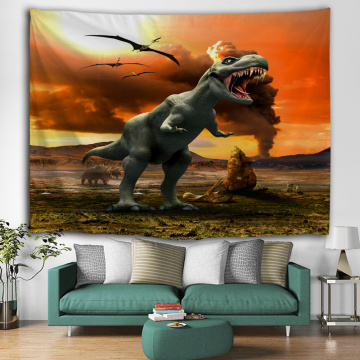 Roaring Dinosaur Tapestry Wild Anicient Animals Wall Hanging Volcanic Eruptions 3D Wall Blanket for Children Bedroom Living Room
