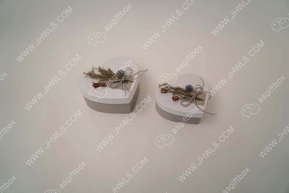 Linens Dried Flowers Heart-shaped Decorations Gift Box