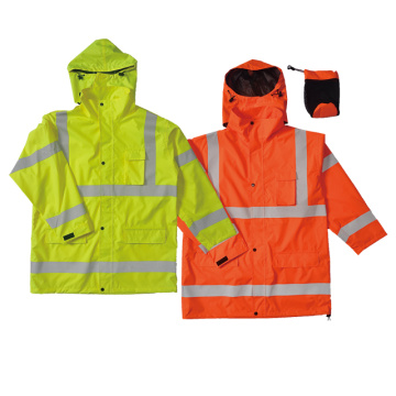 Hi-vis waterproof rain coat with reflective tape.