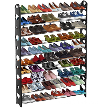 Stackable 50 Pair Shoe Rack (Up to 10 Stack-able Shelves, Adjustable for Different Shoe Sizes, Free Up Closet or Floor Space)
