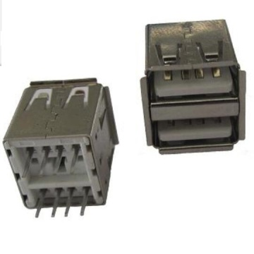 USB A Receptacle Double Stack Straight DIP L=14.2mm