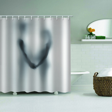 Couple Shadow Waterproof Shower Curtain Unique Black and White Bathroom Decor