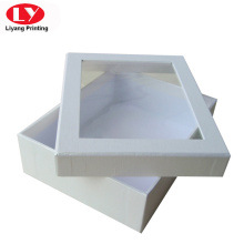 Paperboard white premium gift box with clear window
