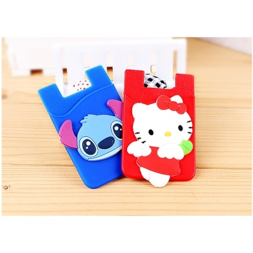 3D Embossed Silicone Phone Card Holder Cute Wallet