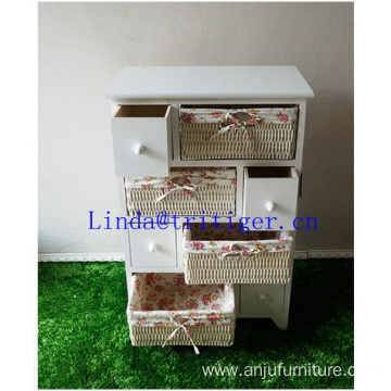 Manufacturer wicker creative fashion ark Drawer storage cabinet The cane makes up of cloth