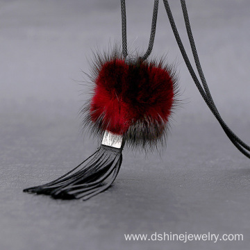 Korea Style Tassle Fur Ball Long Sweater Chain Necklace