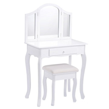 Bathroom Vanity Makeup Table Set Tri-folding Mirror Cushioned Stool Dressing Table