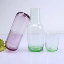 Mouth Blown Colored Bedside Carafe Drinking Glass Cup