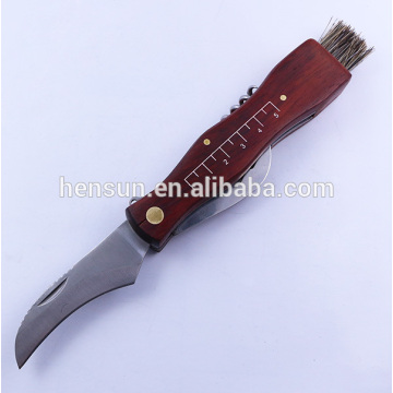 Multi Wood Handle Mushroom Knife with Brush