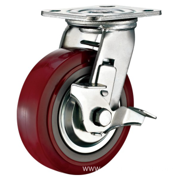 5'' Plate Heavy Duty PU Industrial Caster with PP Core With Side Brake