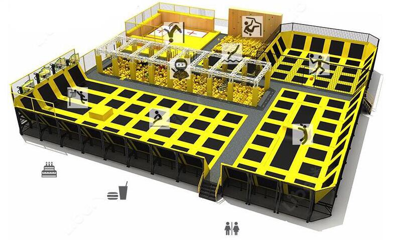 plan of indoor trampoline park