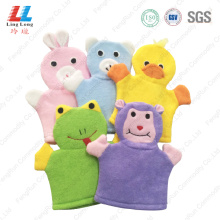 Cute animal fiber bath gloves sponge