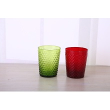 handmade solid color glass tumbler with beaded glass cup