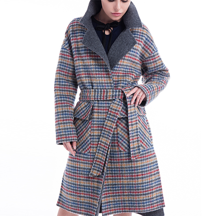 Coloured checked cashmere overcoat