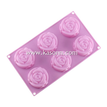 6 Cups Mini Rose Silicone Bread Cookie Molds