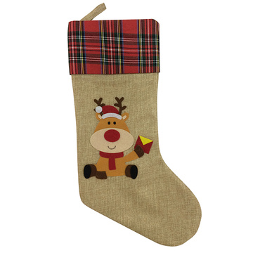 Christmas stocking with reindeer pattern