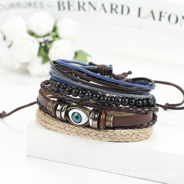 Multi Layers Wooden Bead Bracelet Eye Charm Leather Bangle