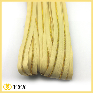 Hanging Plated Gold Chain Nylon Coil Zipper