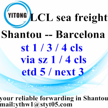 Good Quality for LCL Shipments Shantou Consolidation Sea Freight Services to Barcelona supply to Portugal Factory