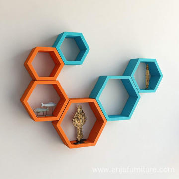 6 Piece Hexagon Shape MDF Wall Shelf, Orange and Sky Blue