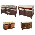Wicker Basket Drawers Solid Wood Linen Fabric Covered Hall Storage Bench Seat