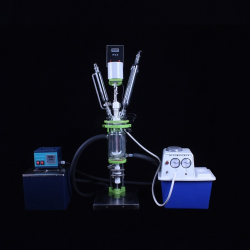 Medicine chemical double layer glass reactor