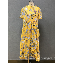 women`s yellow print dress