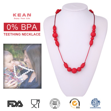 Food grade silicone baby teething beaded necklace
