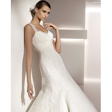 Elegant Trumpet Mermaid Sweetheart Straps Sweep Brush Train Lace Tulle Wedding Dress