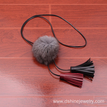 ODM for Black Fur Ball Necklace Fashion Chokers Fluffy POM POM Mink Fur Ball Tassel Necklace supply to Tajikistan Factory