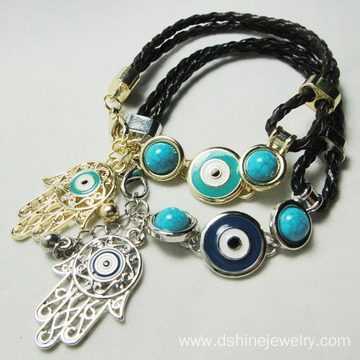 Handmade Blue Evil Eye Leather Bracelet With Hamsa Pendant